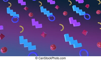 Animation of colored shapes in purple background