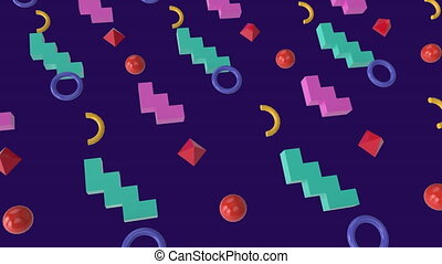 Animation of colored shapes with purple background
