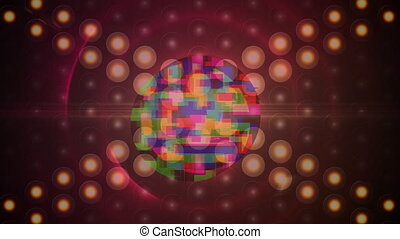 Animation of colorful circles with multilple lights in a red background