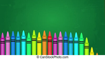 Animation of multiple multi coloured crayons in rows at the bottom on green background. Back to school education concept digitally generated image.