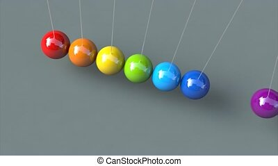 Animation of colorful newton's cradle 3d animation