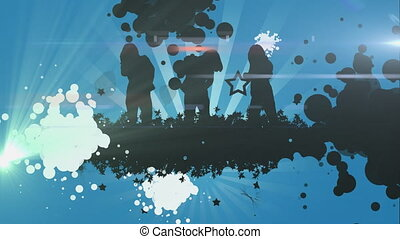 Animation of colourful spotlights at a party with silhouettes of people dancing on blue background