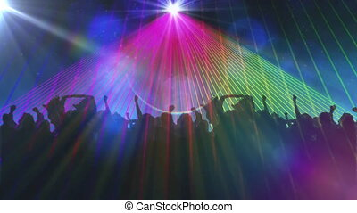 Animation of colourful spotlights moving around with black silhouettes of crowd of people dancing