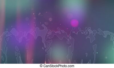 Animation of colourful spotlights moving around with silhouettes of crowd of people dancing