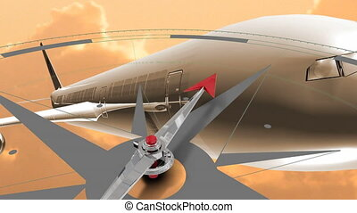 Animation of grey compass moving around pointing north with flying aeroplane model on orange clouds and sky in the background. Global connections travel concept digitally generated image.