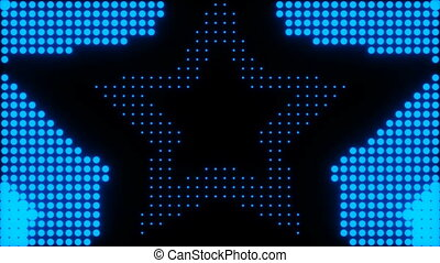 Animation of concentric stars over a simulated led background.