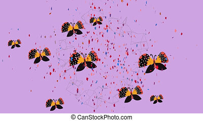 Animation of confetti falling with orange butterflies on purple background