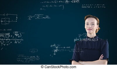 Animation of confident Caucasian woman behind a chalkboard with floating mathematics formulae