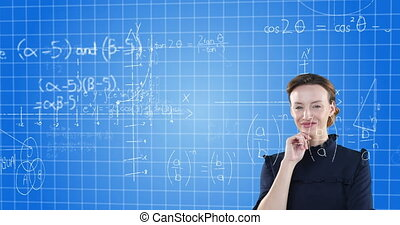 Animation of a confident Caucasian woman with floating mathematics formulae on blue background, smiling and looking at camera. Global economy and technology concept digital composite