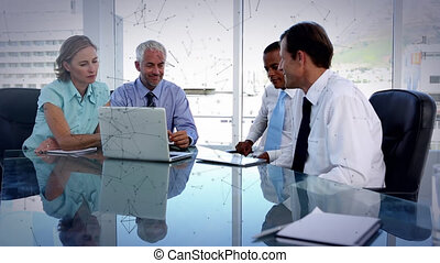 Animation of connections over business people in meeting