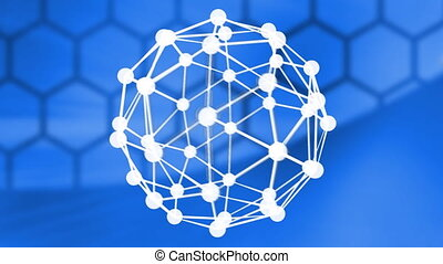 Animation of connectors sphere on blue background