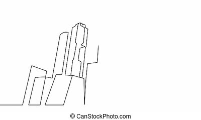 Animation of continuous line drawing of city skyscrapers.