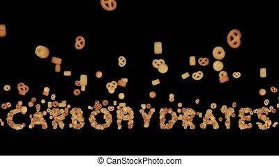 Animation of Cookies Forming the Word Carbohydrates