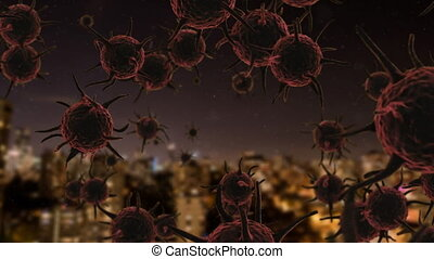 Animation of corona virus with city in background