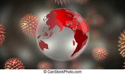 Animation of corona virus with world globe in background - ...