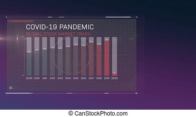 Animation of Covid-19 Pandemic Global Stock Market Crash written on screen with chart and statistics