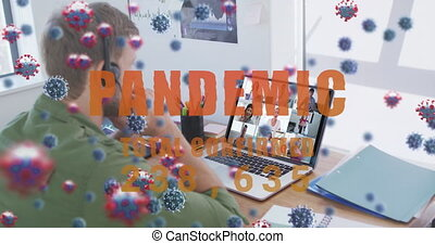 Animation of covid19 cells and number of cases over man using laptop on video call. Digital interface global covid 19 pandemic, connection and communication concept digitally generated video.