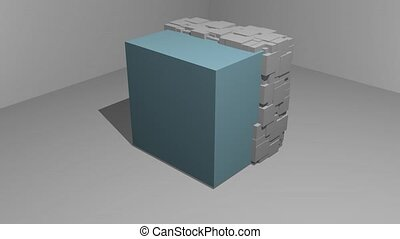 animation of cubic particle motion on a cubic object, 3d...