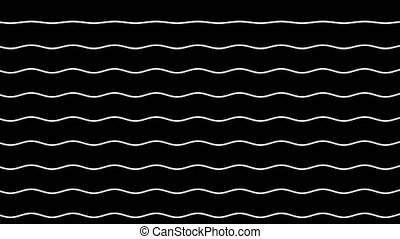 Animation of curves of wavy white lines rising up against a...