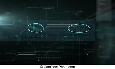 Animation of data and mathematical equations floating on ...