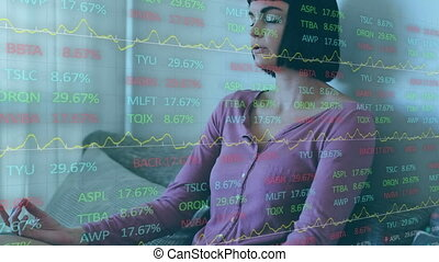 Animation of data and statistics over Caucasian woman ...