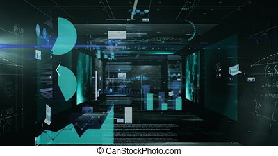 Animation of data processing and graphs on scientist screens...