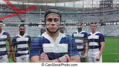 Animation of data processing in frames over multi-ethnic male rugby team standing in a row