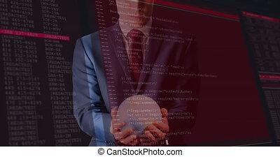 Animation of data processing on screens over businessman holding globe