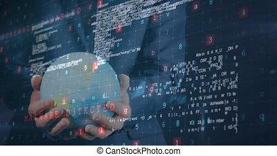 Animation of data processing over businessman holding globe on blue background