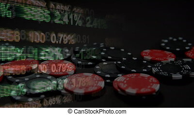 Animation of data processing over casino chips falling on a ...