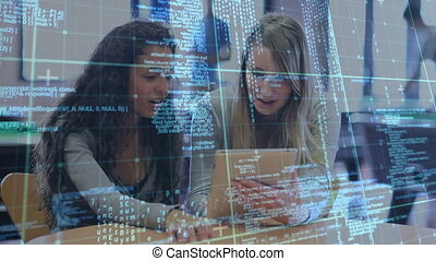 Animation of data processing over female students using digital tablet