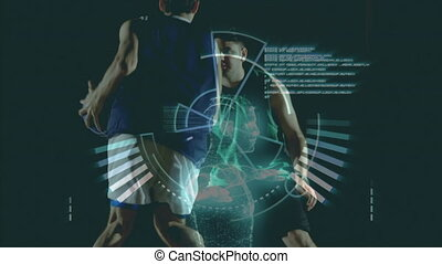 Animation of data processing recording with two male basketball players