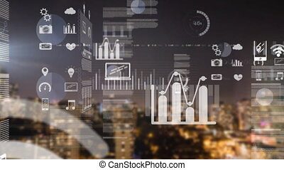 Animation of data processing with city in background