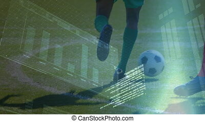Animation of data processing with low section football player playing