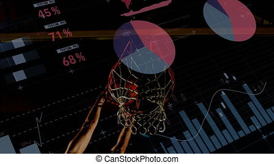 Animation of data processing with male basketball player throwing ball