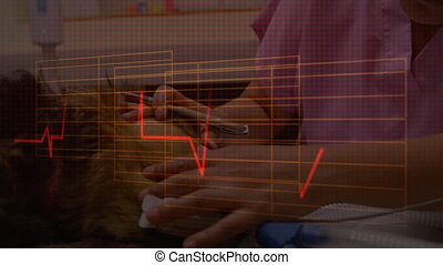 Animation of data with woman in a clinic in background - ...