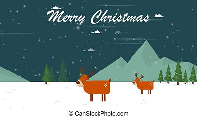 Animation of deer Christmas for merry Christmas