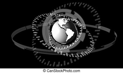 Animation of dial spinning around grey earth on black...