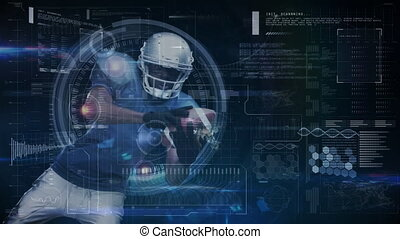 Animation of digital data processing over american football player catching ball. global sport technology connections concept digitally generated image.