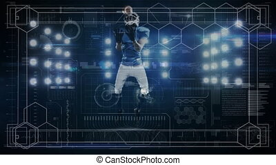 Animation of digital data processing over american football player catching ball