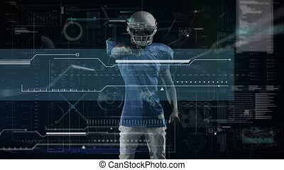 Animation of digital data processing over american football player. global sport technology connections concept digitally generated image.