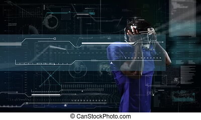 Animation of digital data processing over american football player