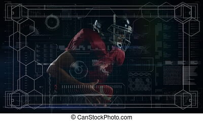 Animation of digital data processing over american football player running with ball