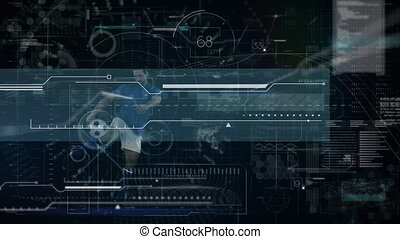 Animation of digital data processing over male football player kicking ball. global sport technology connections concept digitally generated image.