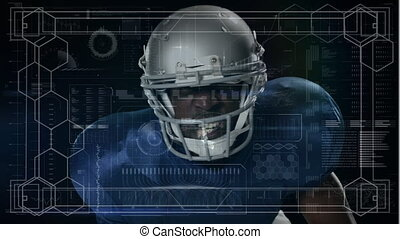 Animation of digital data processing over portrait of american football player. global sport technology connections concept digitally generated image.
