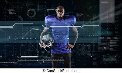 Animation of digital data processing over portrait of american football player
