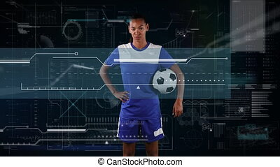 Animation of digital data processing over portrait of female football player. global sport technology connections concept digitally generated image.