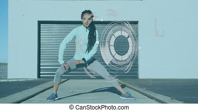 Animation of digital data processing over woman stretching, exercising outdoors. Digital interface global sport and performance concept digitally generated video.