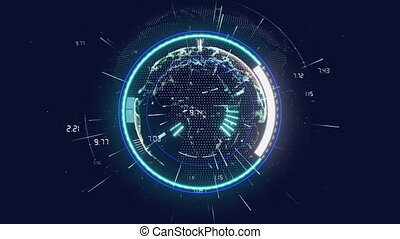 Animation of digital interface showing circular scope scanning with floating numeric data and starbursts on black. communication technology digital interface concept, digitally generated video.