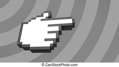 Animation of digital pixelated finger pointing right over rotating grey stripes moving seamless loop